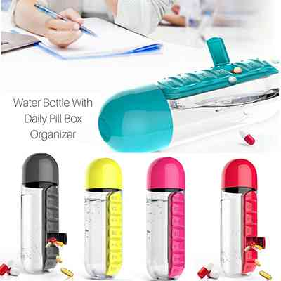 Daily Pill Box Organizer with Water Bottle Health & Beauty