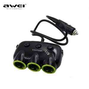 3 Sockets Car Cigarette Lighter Car Power Adapter with 2 USB Ports Charger
