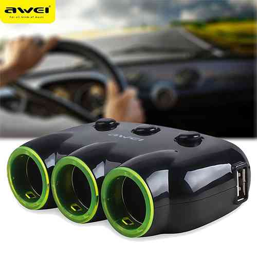 3 Sockets Car Cigarette Lighter Car Power Adapter with 2 USB Ports Charger Car Care Accessories