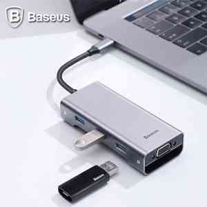Baseus Square Desk Type-C Multi-Functional Hub USB 3.0 * 3 VGA Computer Accessories
