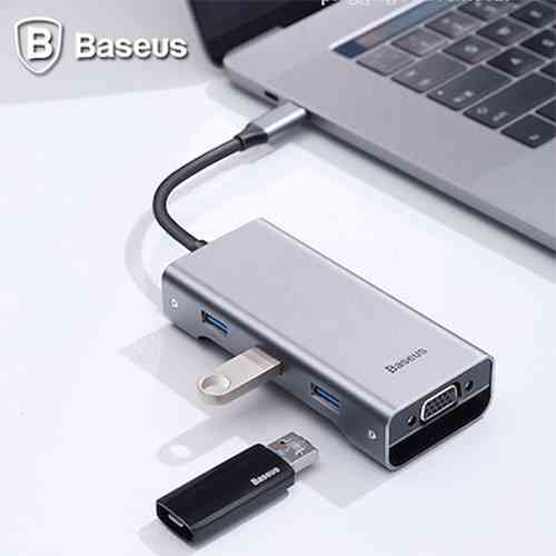 Baseus Square Desk Type-C Multi-Functional Hub USB 3.0 * 3 VGA Computer Accessories
