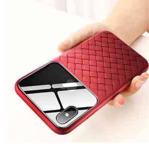 Glass & Weaving Case For iPhone XR Cases