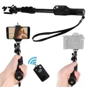 Yunteng YT 1288 Bluetooth Selfie Stick – Black, with Remote Tripods