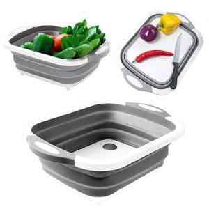 Collapsible Cutting Board Dish Tub,Drain Basket Kitchen & Dining