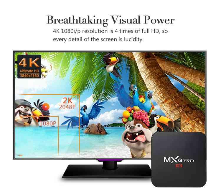 MXQPRO 4K S905W Android 7.1 2G+16G Tv Box Smart 4-Core Media Player Streamer