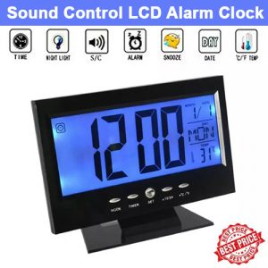 Sound Control Backlight Digital LCD Alarm Clock