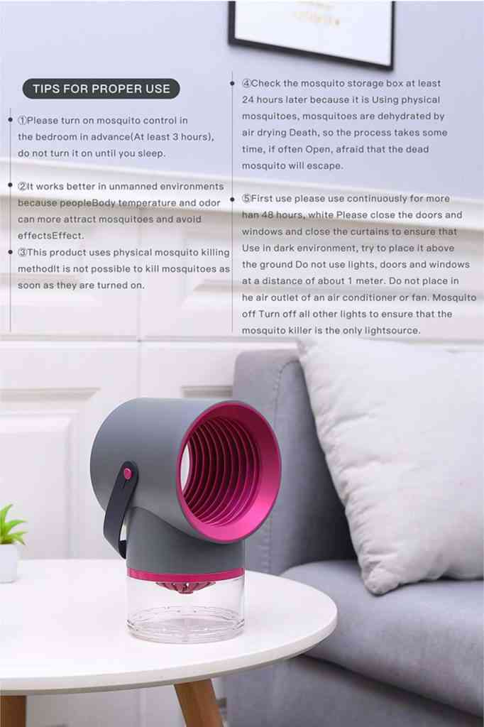Electric Mosquito Killer Lamp Portable Mute Pure physical 365nm Light Wave Photocatalyst Insect Pest Trap Lamp For Home Outdoor Camping USB Version 189 - Grey