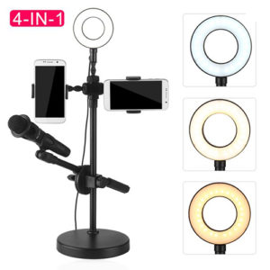 Selfie Ring Light with Phone Holder and Microphone Stand Tripods