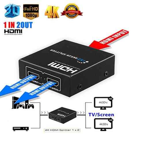 2 Port HDMI Splitter Full HD 1080P 4K 1 In 2 Out Splitter Computer Accessories