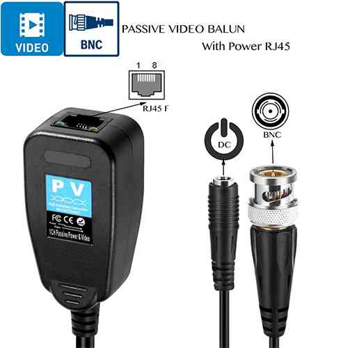 Passive HD Video Balun 5MP PV/PVA with Power Connector RJ45 Security Camera