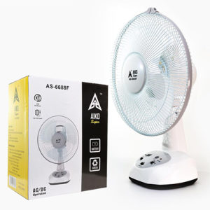 AIKO Rechargeable Fan with Built-in LED Light – AS6688F Home & Lifestyle