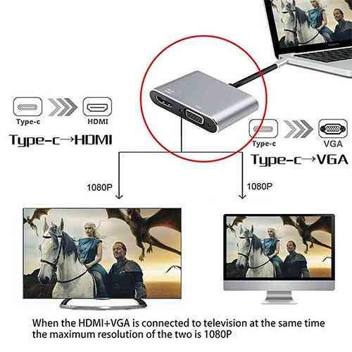 USB C to HDMI VGA Adapter Computer Accessories