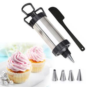 Cake Decorating Piping Gun Pastry Icing Steel Gun 4 Nozzle Tip Set Bakeware